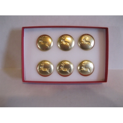 "SET OF 6 PROFESSIONAL REMOVABLE 1 1/8"" BRIGHT BRASS REINDEER BUTTONS"