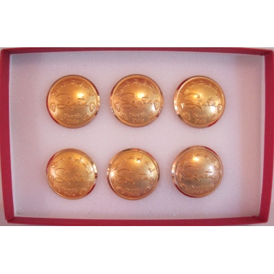 "SET OF 6 PROFESSIONAL REMOVABLE 1 1/8"" SATIN GOLD BUTTONS"