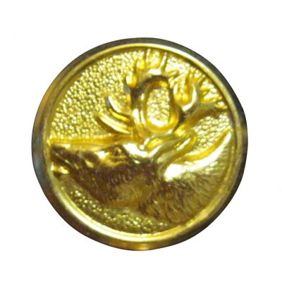 "6 EA 7/8"" GOLD REINDEER HEAD SEW ON BUTTON"