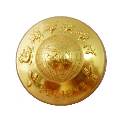 "1 1/8"" SANTA AROUND THE WORLD PROFESSIONAL SEW ON GOLD PLATED BUTTON"