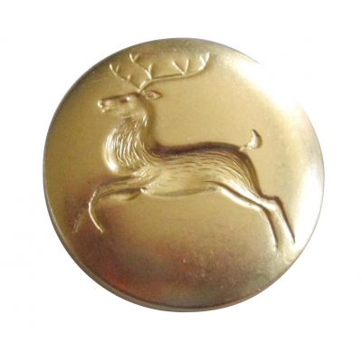 POLISHED BRASS 1 1/8' REINDEER BUTTON