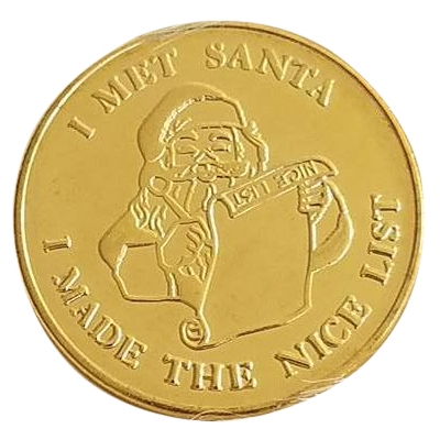 "*BAG OF 25* SOLID BRASS "" I MET SANTA - I MADE THE NICE LIST"" COIN WITH SANTA & RUDOLPH*"