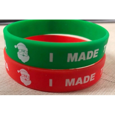"BAG OF 100  7"" RED OR GREEN - YOUTH SIZE- ""I MET SANTA I MADE THE NICE LIST"" WRISTBANDS"