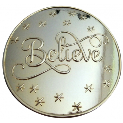 "5 1/2"" BRIGHT GOLD ""BELIEVE"" BUCKLE- FITS A 4"" BELT"