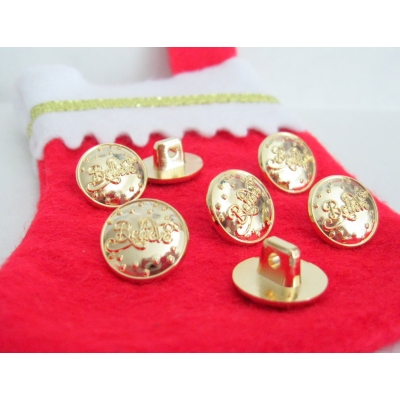 "NEW FOR 2018  5/8"" GOLD 7 PIECE "" BELIEVE"" SEW ON BUTTONS FOR SANTA SHIRTS"