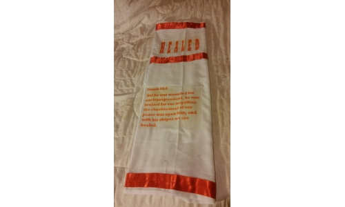 Red & White Prayer Shawl with scripture