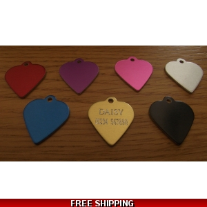 Engraved Heart Pet Tag - Dog or Cat Id..