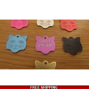 Engraved Cat Face Pet Tag - Cat Identi..
