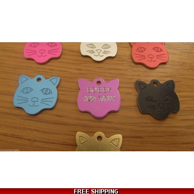 Engraved Cat Face Pet Tag - Cat Identity Tag title=