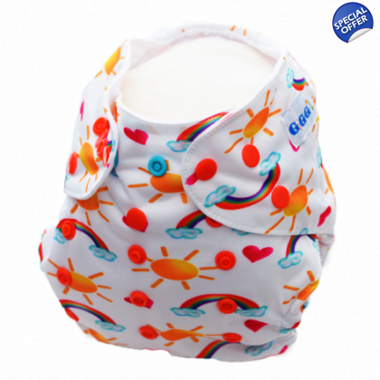 Sing a Rainbow up to 15kgs or 35lbs - Washable Nappy