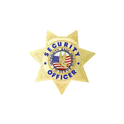 Security Officer 7 Point Star Breast Badge Gold