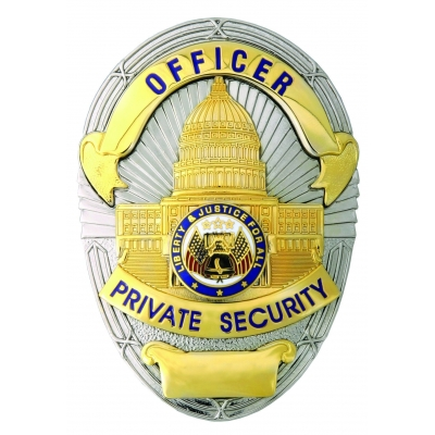 Officr Private Security Gold on Silver Shield Badge LAPD Style