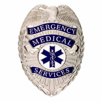 Emergency Medical Services EMS Shield Badge Silver
