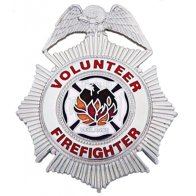 Volunteer Firefighter Sunburst Badge Nickel Silver