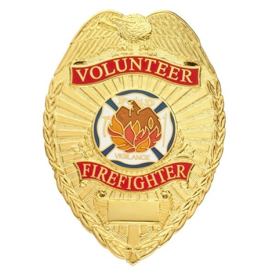 Volunteer Firefighter Shield Badge Gold