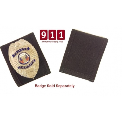 Black Nylon Velcro Badge Holder Over Belt Shield Oval Round Star