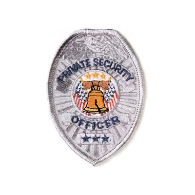 Oval Patch Badge - Private Security Officer Silver