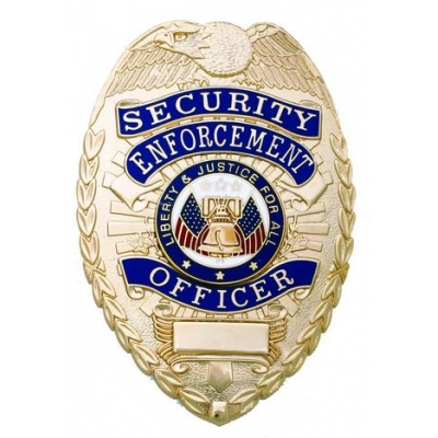 Security Enforcement Officer Shield Breast Badge Gold
