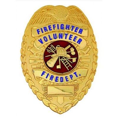 Volunteer Firefighter Fire Department Shield Badge Gold