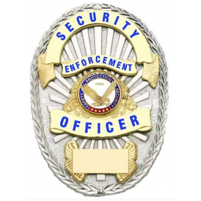 Security Enforcement Officer Shield Oval Badge Silver - Gold