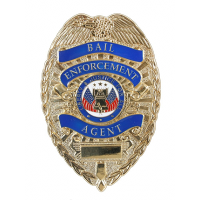 Bail Enforcement Agent Shield Breast Badge Gold