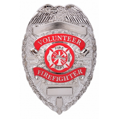 Volunteer Firefighter Fire Dept Shield Badge Silver
