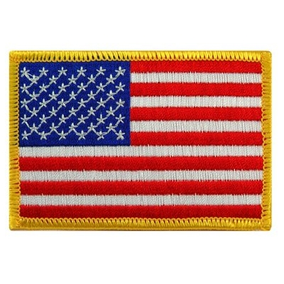American Flag Embroidered Patch Gold Regular