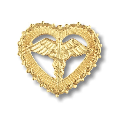 Caduceus in Filigreed Heart Pin