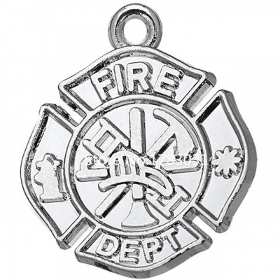 Rhodium Plated Alloy Metail Fire Dept Badge Charm