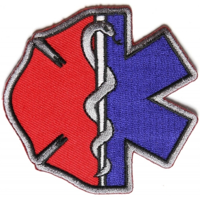 Firefighter EMT Emblems Patch Star of Life Maltese