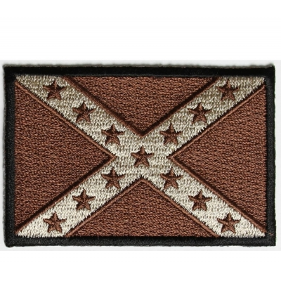 Rebel Confederate Southern Flag Patch Brown