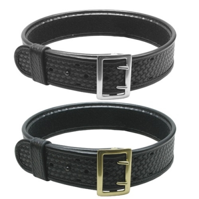 Leather Duty Belt Sam Brown Basket Weave Black 2 1/4