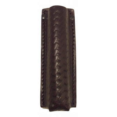 Leather Collapsible Baton Holder Basket Weave Sheriff Brown