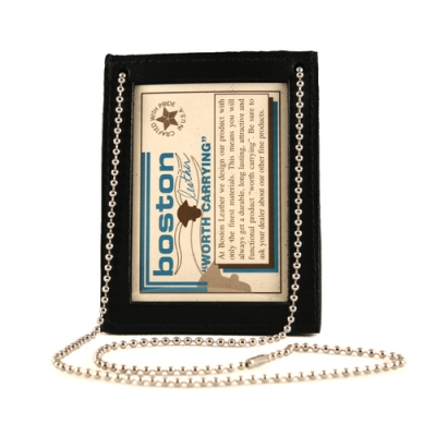 Leather Double ID Neck Chain Holder Black