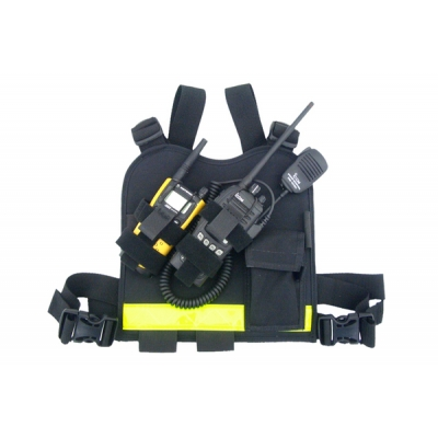 Radio Chest Harness Dual Nylon Black