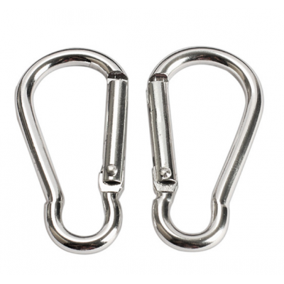 Silver Aluminum Alloy Hiking Spring Carabiner 2 Pack