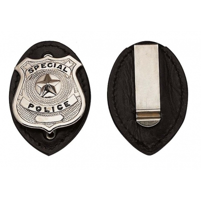 Leather Clip On Badge Holder Shield