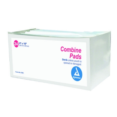 Abdominal Pad NonWoven Fluff 8 X 10 Pack of 24