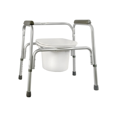 Commode Chair Fixed Arm Aluminum Frame Seat Lid Back 16 to 22 Inch