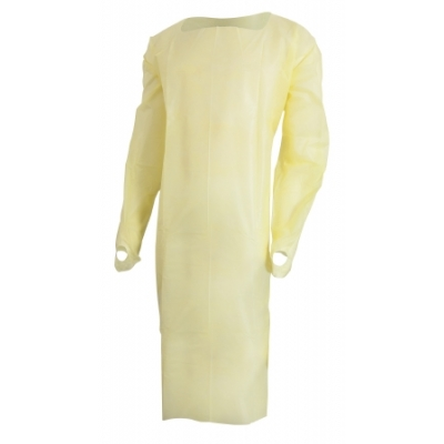 Isolation Gown Yellow Thumb Loop Adult Disposable 10 Pack