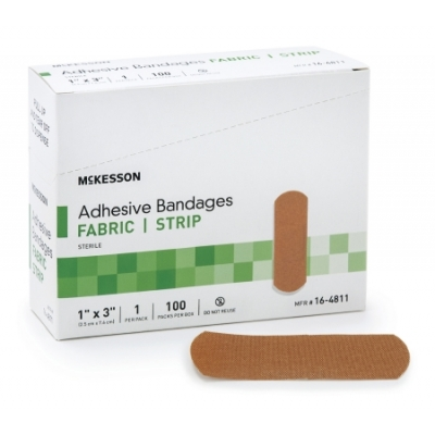 Adhesive Strip 1 X 3 Inch Fabric Rectangle Tan Sterile 100 Pack