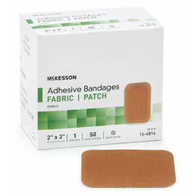 Adhesive Strip 2 X 3 Inch Fabric Rectangle Tan Sterile 50 Pack