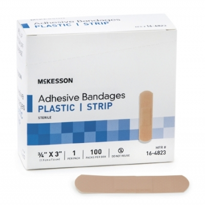 Adhesive Strip  3/4 X 3 Inch Plastic Rectangle Tan Sterile 100 pack