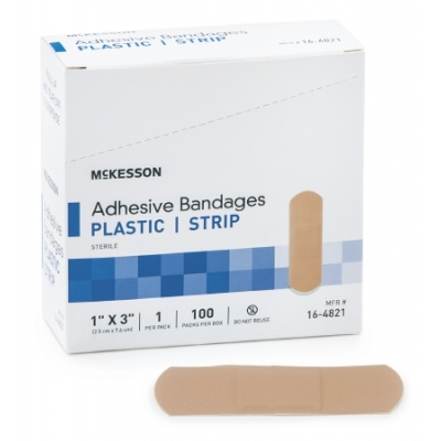 Adhesive Strip 1 X 3 Inch Plastic Rectangle Tan Sterile 100 Pack
