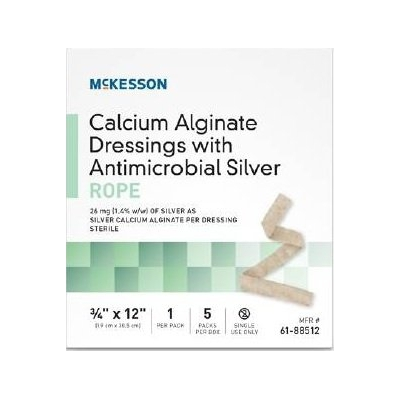 Calcium Alginate Dressing with Silver 3/4 X 12 Inch Rope Sterile
