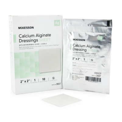 Calcium Alginate Dressing with Silver 2 X 2 Inch Square Sterile