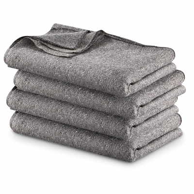 Fire Resistant Wool Blanket Warm Grey 62 x 80