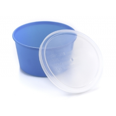 Denture Cups 8 oz. Aqua Snap-On Lid Single Patient Use