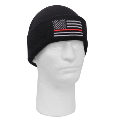 Deluxe Thin Red Line Watch Cap Embroidered Beanie Hat