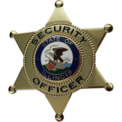 Security Officer 6-Point Star Badge State of Illinois Seal IL